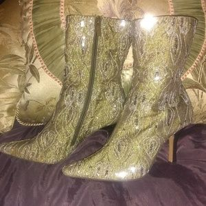 Green Sequined boots